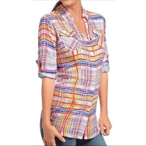 Cabi | Rainbow Watercolor Plaid Button Down Top